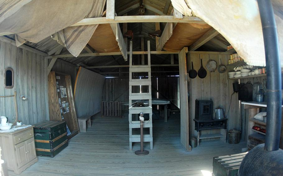 A reconstruction of the Wright Brothers' early 20th century living quarters at the Wright Brothers National Memorial in Kitty Hawk, N.C.