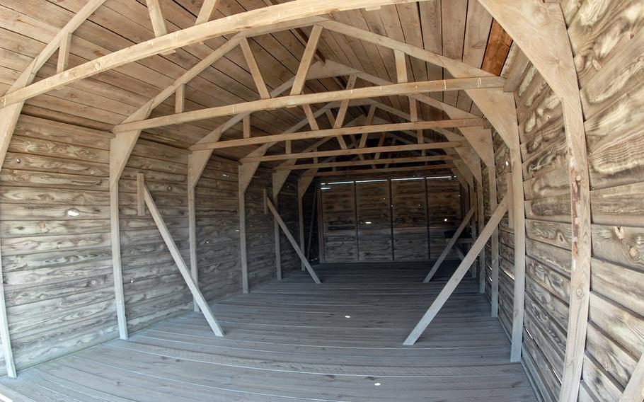 A reconstruction of a storage shed used to store airplanes at the Wright Brothers National Memorial in Kitty Hawk, N.C.