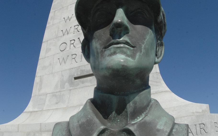 A bust or Wilbur Wright at the Wright Brothers National Memorial in Kitty Hawk, N.C.