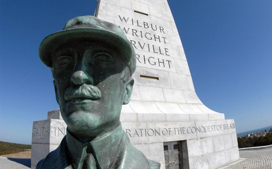 A bust of Orville Wright at the Wright Brothers National Memorial in Kitty Hawk, N.C.