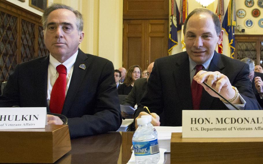 David Shulkin, undersecretary of health for the Department of Veterans Affairs, with VA Secretary Bob McDonald at a House hearing in February, 2016.