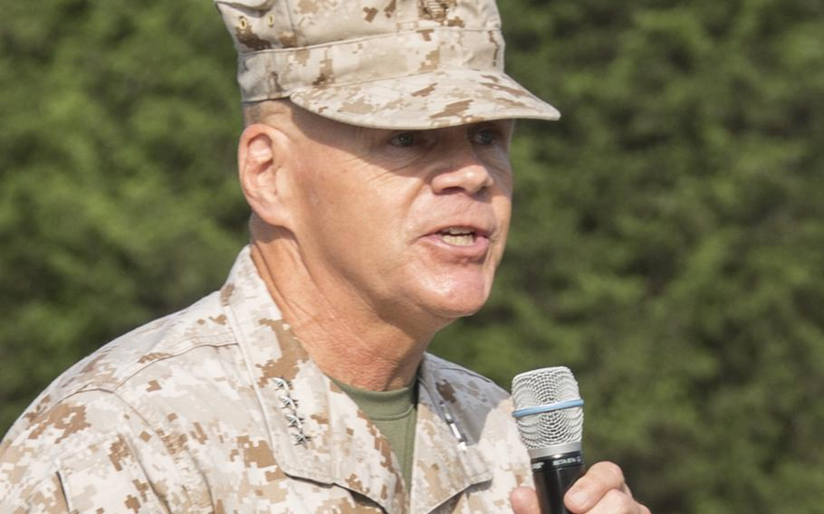 Commandant of the Marines Corps Gen. Robert B. Neller gives remarks during a graduation ceremony at the Officer Candidate School, Quantico, Va., Aug. 6, 2016.
