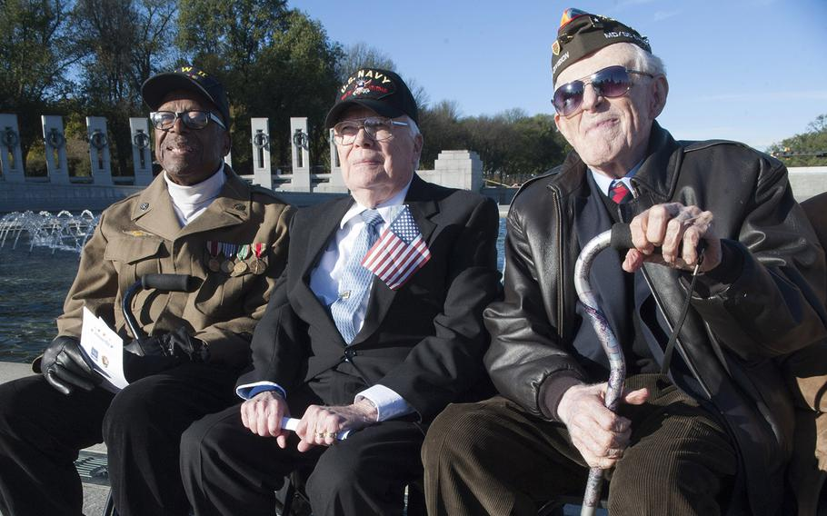 World War II veterans await the start of Veterans Day ceremonies at the National World War II Memorial in Washington, D.C., in November, 2015.