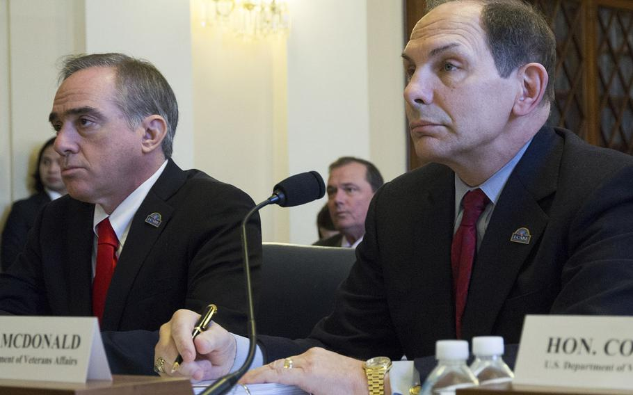 Secretary of Veterans Affairs Bob McDonald testifies at a House Committee on Veterans' Affairs hearing on Capitol Hill in February, 2016. Next to him is Under Secretary for Health Dr. David Shulkin, who has been nominated to succeed McDonald as head of VA.