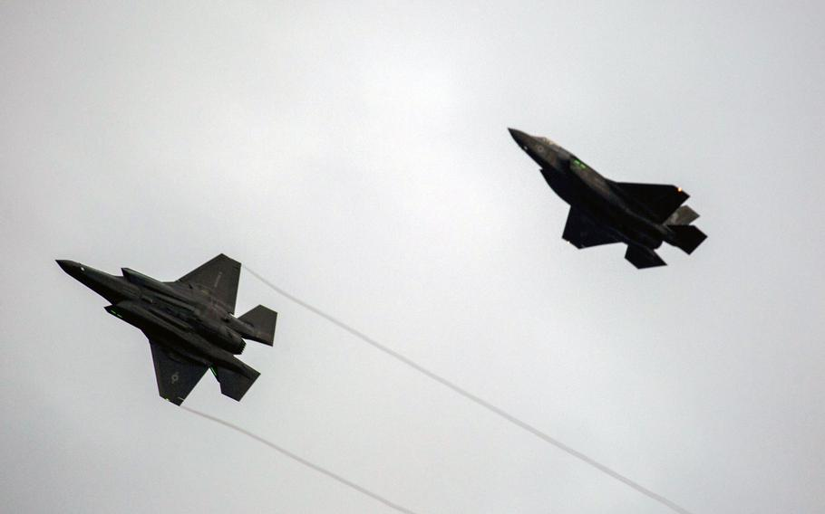 Two F-35B Lightning II aircraft with Marine Fighter Attack Squadron (VMFA) 121, prepare to land at Marine Corps Air Station Iwakuni, Japan, Jan. 18, 2017. VMFA-121 conducted a permanent change of station to MCAS Iwakuni, from MCAS Yuma, Ariz., and now belongs to Marine Aircraft Group 12, 1st Marine Aircraft Wing, III Marine Expeditionary Force. The F-35B Lightning II is a fifth-generation fighter, which is the world's first operational supersonic short takeoff and vertical landing aircraft. The F-35B brings strategic agility, operational flexibility and tactical supremacy to III MEF with a mission radius greater than that of the F/A-18 Hornet and AV-8B Harrier II in support of the U.S. – Japan alliance.