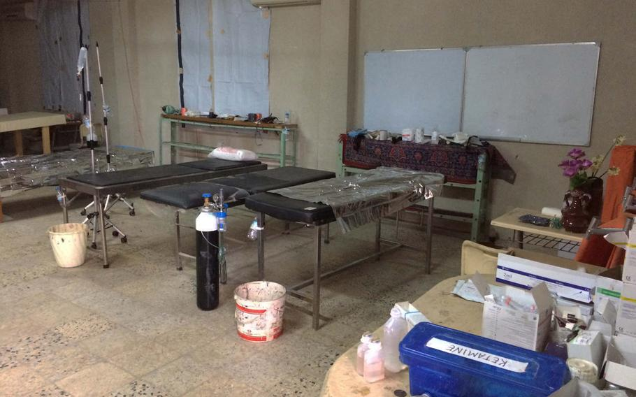 This aid station for soldiers and civilians injured in Mosul, Iraq, was empty Saturday afternoon, but medics there said they had treated dozens of patients daily during fighting this month.   Seth Robson/Stars and Stripes