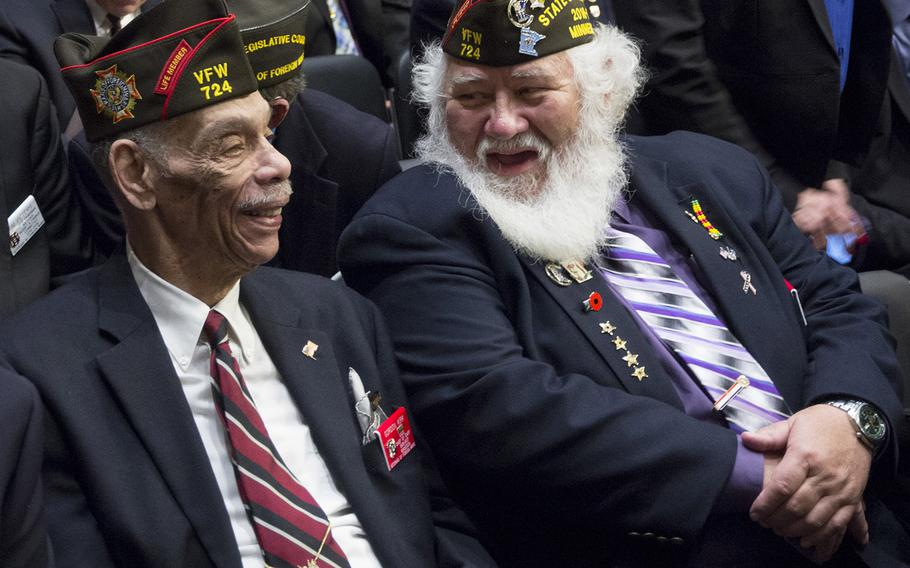 Veterans of Foreign Wars members await the start of the VFW's legislative presentation on Capitol Hill, March 1, 2017.