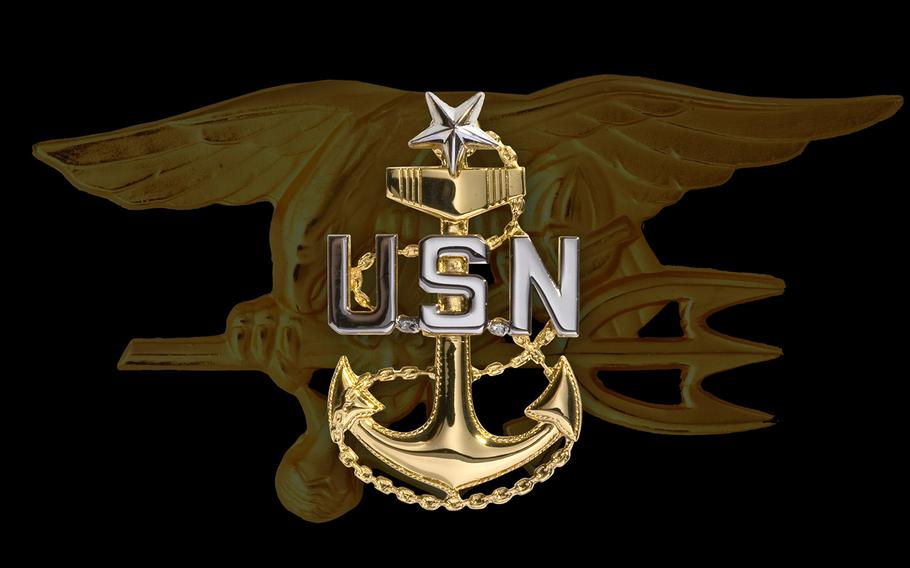 """A graphic created by the U.S. Navy to illustrate the posthumous promotion of Chief Special Warfare Operator William """"Ryan"""" Owens to senior chief petty officer. Owens, 36, of Peoria, Ill., died Jan. 29, 2017 in the Arabian Peninsula of Yemen, from wounds sustained in a raid against al-Qaida."""