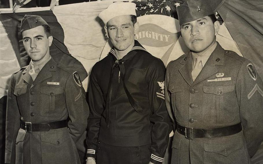 Survivors of Iwo Jima flag raising, including Marine Cpl. Ira Hayes, right,  at the unveiling of a statue in New York, May 11, 1945.