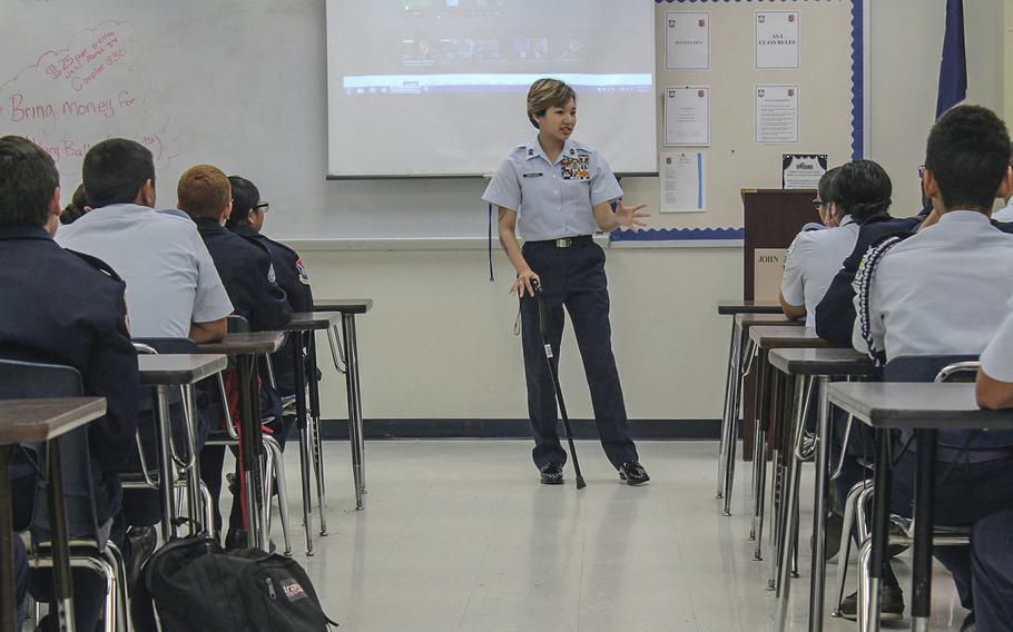 Kianni Martinez speaks with junior ROTC cadets about resiliency at John Jay High School in San Antonio, Texas, on March 1, 2017.