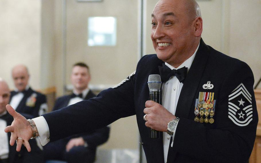 In a 2014 file photo, U.S. Air Force Command Chief Master Sgt. Jose Barraza, 3rd Wing command chief, speaks to airmen and family members during a chief master sergeant recognition ceremony at Eielson Air Force Base, Alaska