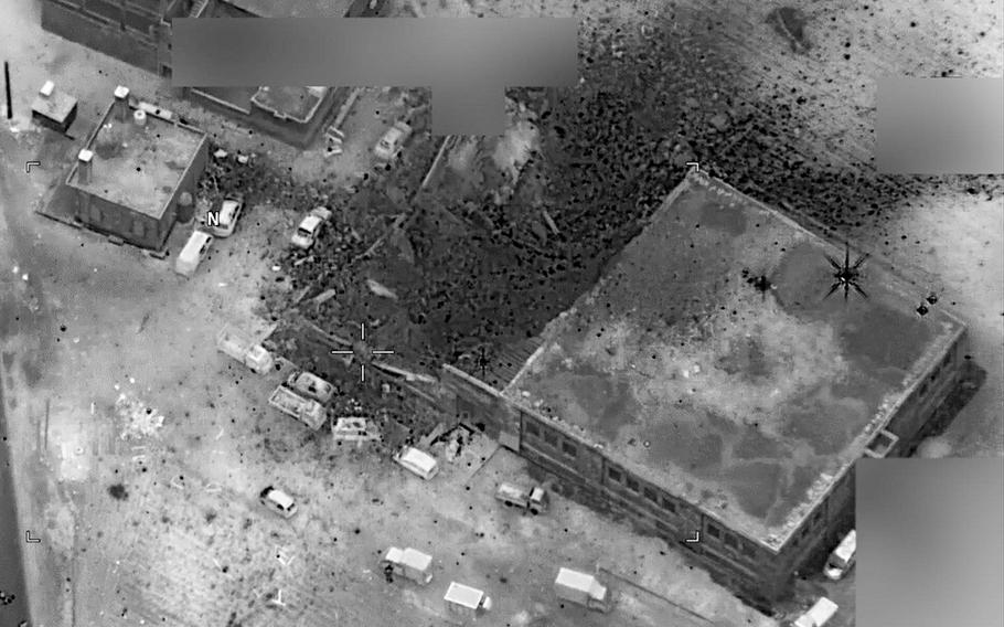 An aerial image shows the results of a U.S. airstrike in Jinah, Syria. Pentagon officials said Friday, May 5, 2017, that they are assessing how U.S. operations against the Islamic State could be affected by new weapons-free zones enforced in western Syria by Russia, Iran and Turkey.