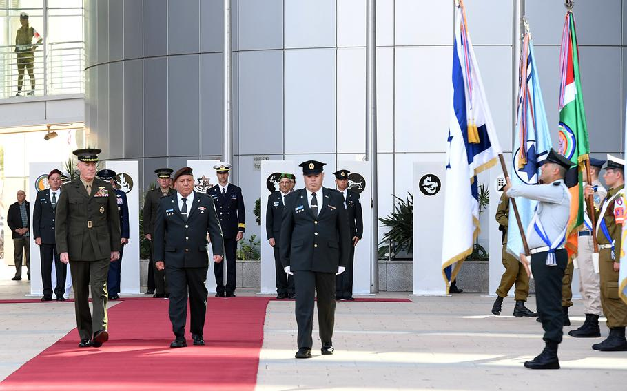 Chairman of the Joint Chiefs of Staff, General Joseph Dunford was received by a full honor guard of Israel Defense Forces soldiers at the IDF headquarters in Tel Aviv, Tuesday, May 9, 2017.