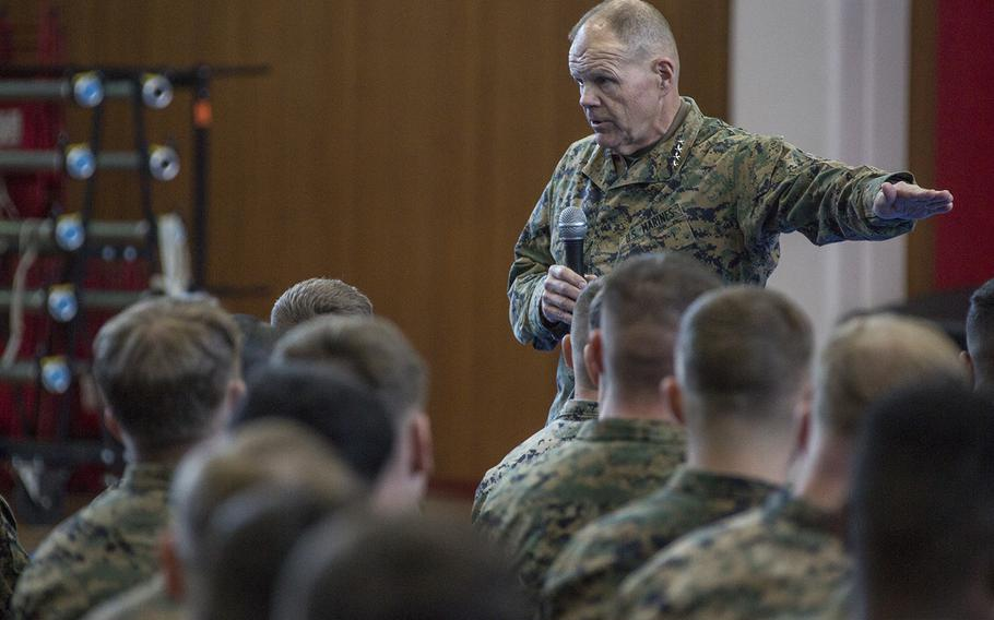 Commandant of the Marine Corps Gen. Robert B. Neller speaks to Marines at Combined Arms Training Center Camp Fuji, Japan, April 3, 2017. Neller spoke about the Marine Corps' revised social media policy.