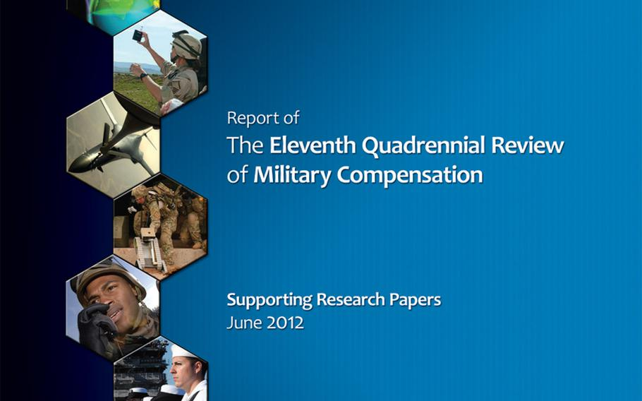 An image from the cover page of the last published Quadrennial Review of Military Compensation, from 2012.