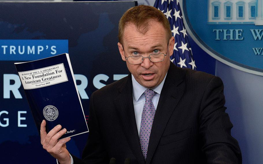Office of Management and Budget Director Mick Mulvaney speaks during a press briefing about President Donald Trump's 2018 budget proposal on May 23, 2017 in Washington.