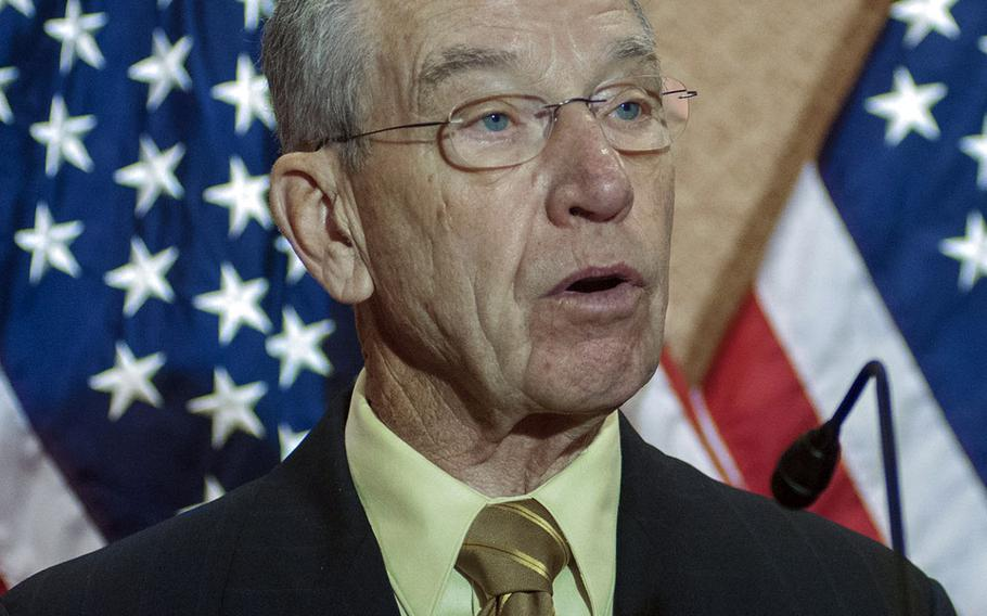 """""""It's good news that Wounded Warrior Project used negative findings to try to turn itself around,"""" said Sen. Chuck Grassley, R-Iowa, seen here speaking at an event on Capitol Hill in December, 2014."""