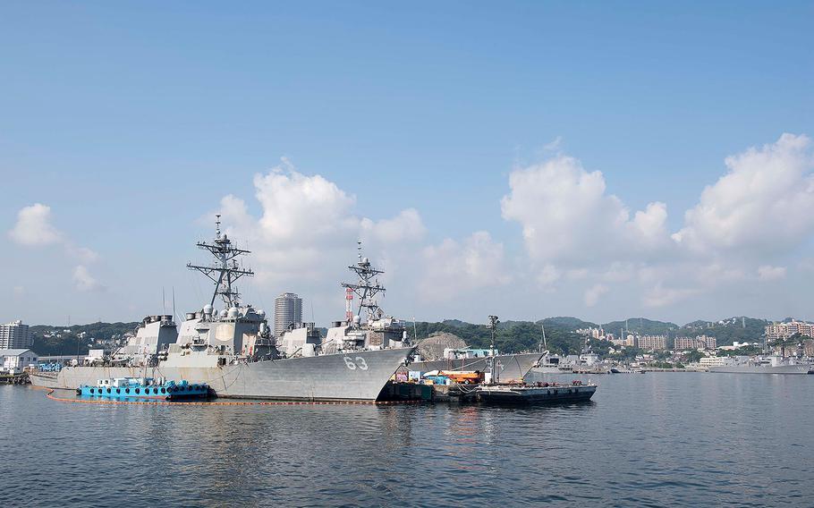 The USS Stethem (DDG 63) and USS Curtis Wilbur (DDG 54) undergo routine maintenance at Fleet Activities Yokosuka, Japan on June 16, 2017.