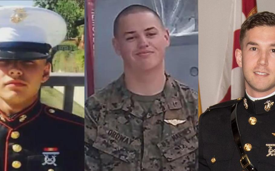 Pfc. Ruben Velasco, from left, Cpl. Nathaniel Ordway and 1st Lt. Benjamin Cross were identified as the Marines killed in an Osprey crash in Australia over the weekend.