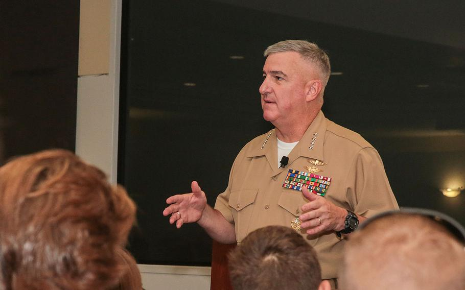 U.S. Marine Corps Gen. Glenn M. Walters, assistant commandant of the Marine Corps, speaks to high school students attending the National Student Leadership Conference (NSLC) at American University, Washington, D.C., Aug. 4, 2017.