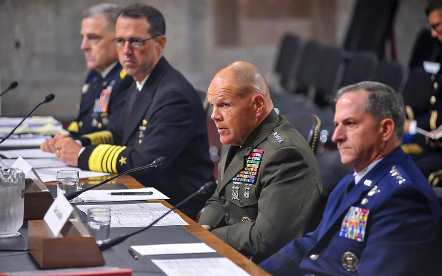Marine Corps Commandant Gen. Robert Neller testifies on Capitol Hill in Washington, D.C., on Sept. 15, 2016. At left is Army Chief of Staff Gen. Mark Milley and Chief of Naval Operations Adm. John Richardson. At right is Air Force Chief of Staff Gen. David Goldfein. Following violence in Charlottesville, Va., on Saturday, Aug. 12, 2017, the four service chiefs have affirmed that there is no place in the military for hatred and intolerance.