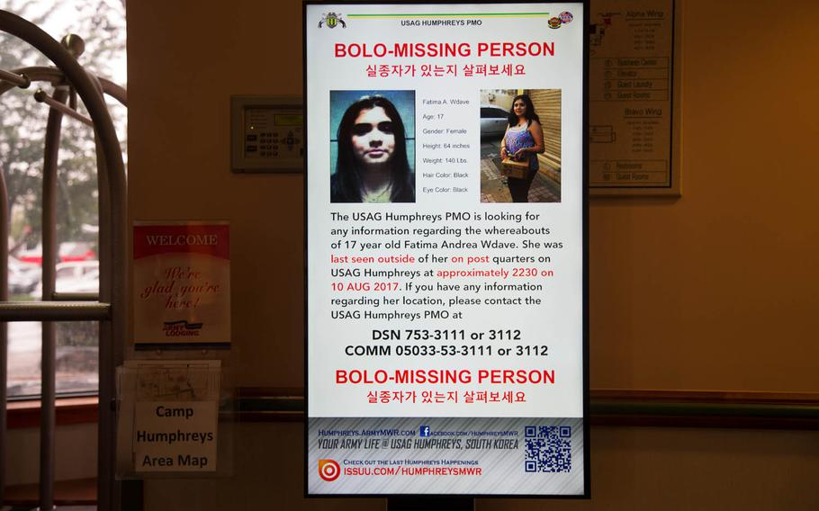 A missing person notice for 17-year-old Fatima Andrea Wdave is seen at Camp Humphreys Lodge, Monday, Aug. 21, 2017.