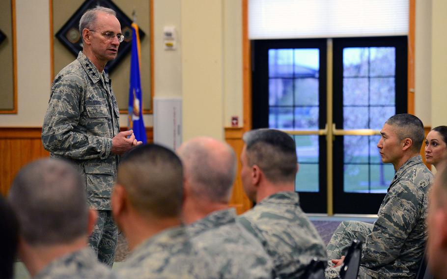 Lt. Gen. Mark Ediger, surgeon general of the Air Force, briefs airmen from the 341st Medical Group during a commander's call May 2, 2017, at Malmstrom Air Force Base, Mont.