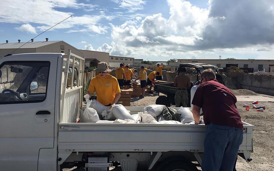 Naval Air Station Corpus Christi personnel make preparations on Aug. 24, 2017 for Hurricane Harvey.
