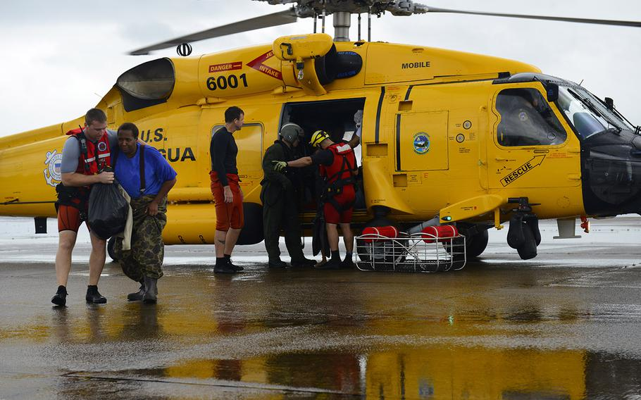 Coast Guard Air Station Houston responds to search and rescue requests after Hurricane Harvey in Houston, Texas, Aug. 27, 2017.