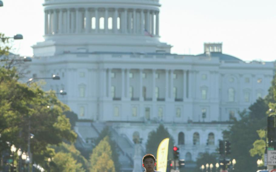 The annual Navy Mile fun run took place in Washington on Oct. 1, 2017, with runners of all ages turning out to participate. The Capital Building made for a great early morning backdrop as runners ran down Pennsylvania Ave.