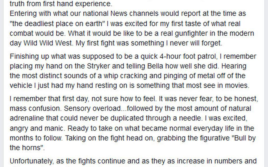 The last message posted by Christopher Roybal to his Facebook, a few months before he was killed in the terrorist attack in Las Vegas on Oct. 1, 2017.