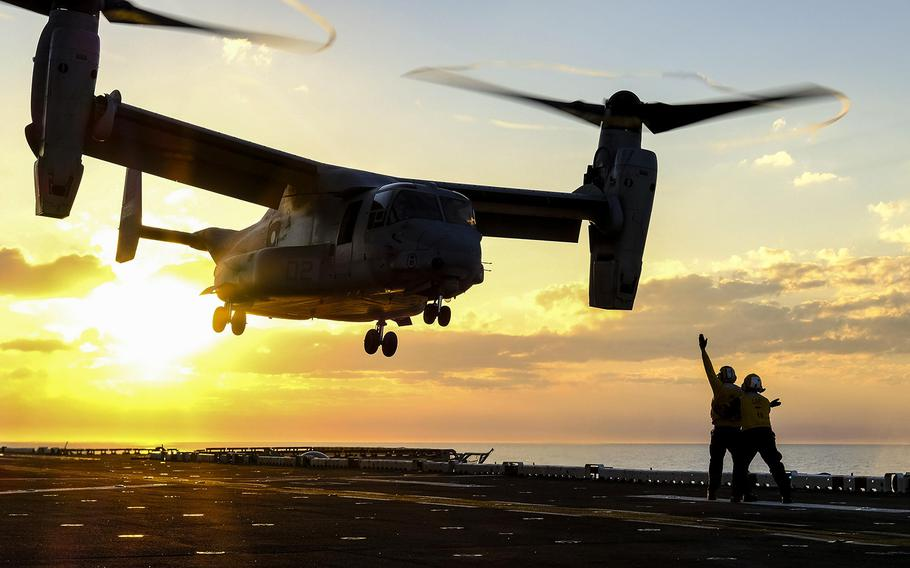 An MV-22B Osprey takes off from the amphibious assault ship USS Iwo Jima in the Atlantic Ocean, March 8, 2017. The Iwo Jima, along with the USS New York, was ordered to get underway Saturday, Oct. 7, from Naval Station Mayport, Fla., to ready a disaster relief response to Tropical Storm Nate.