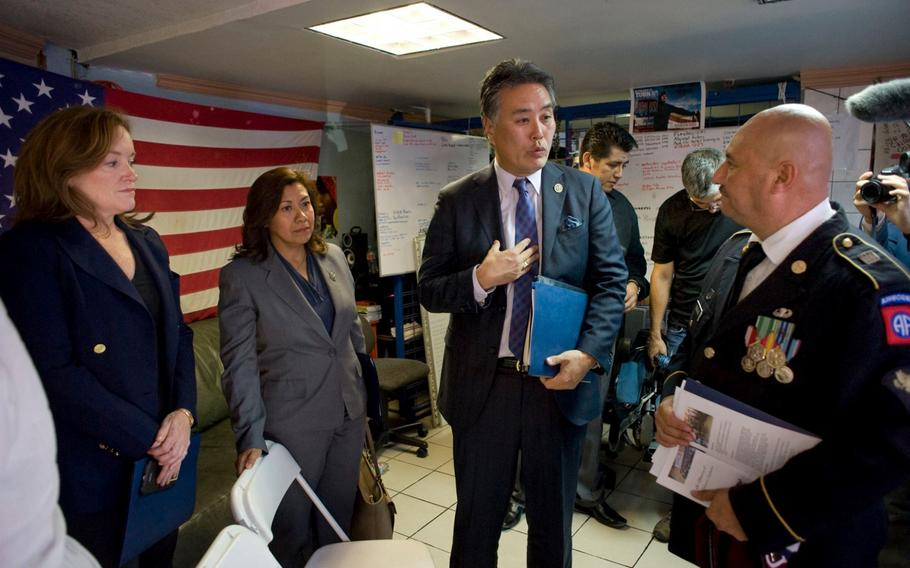 Rep. Mark Takano, D-Calif., along with Reps. Lou Correa, D-Calif., Kathleen Rice, D-N.Y., Norma Torres, D-Calif., and Gregorio Sablan, I-Northern Mariana Islands, spoke with veterans at the Deported Veterans Support House, founded by 82nd Airborne veteran Hector Barajas-Varela, right, on Oct. 6, 2017.