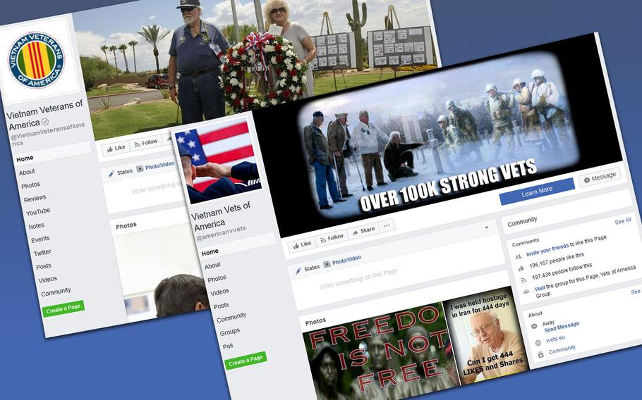 """Vietnam Veterans of America, a congressionally chartered veterans service organization, runs a public Facebook page. Another page, Vietnam Vets of America, isn't affiliated with a major veterans group. VVA calls them an """"imposter page."""""""