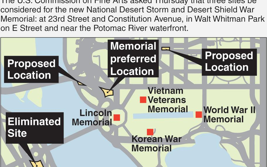 The proposed locations for the upcoming National Desert Storm and Desert Shield War Memorial in Washington, D.C.