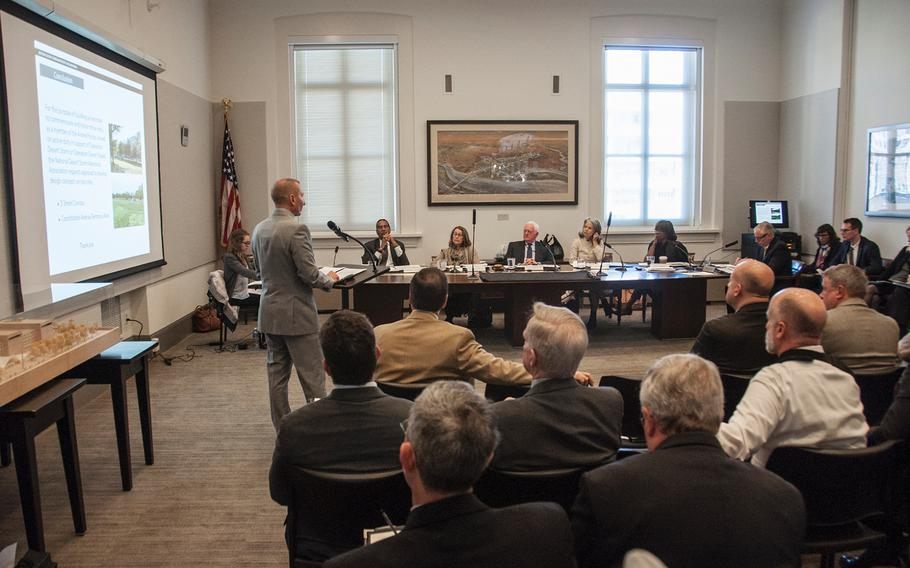 In an Oct. 19, 2017 file photo, Scott Stump, president and CEO of the National Desert Storm War Memorial Association, speaks during a hearing before the U.S. Commission of Fine Arts in Washington, D.C.