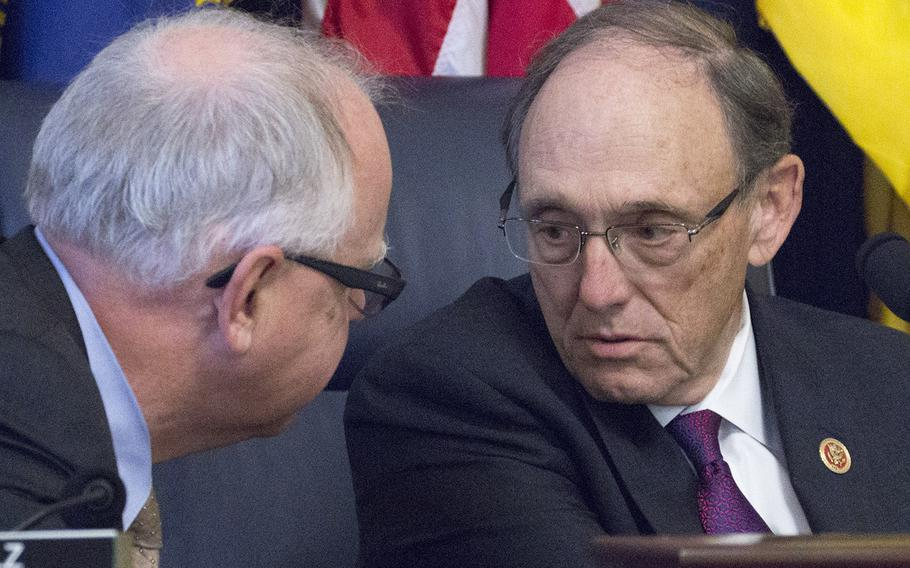 House Veterans' Affairs Committee Chairman Phil Roe, R-Tenn., right, confers with Ranking Member Tim Walz, D-Minn., at a hearing on Capitol Hill, Oct. 24, 2017.