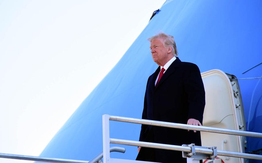 President Donald Trump departs Air Force One at Berry Field Air National Guard Base, Nashville, March 15, 2017.