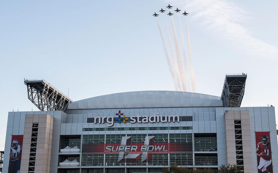 The U.S. Air Force Thunderbirds perform the flyover of Super Bowl LI in Houston, Texas, Feb. 5, 2017.