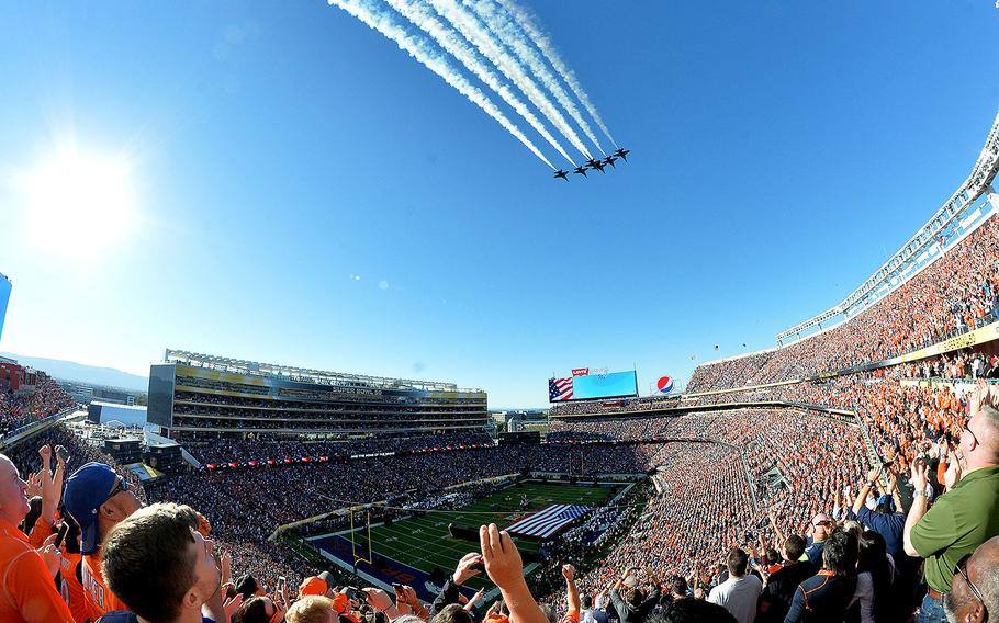 The Blue Angels perform a flyover during the singing of the national anthem before the start of Super Bowl 50 at Levi's Stadium in Santa Clara, Calif., on Sunday, Feb. 7, 2016.