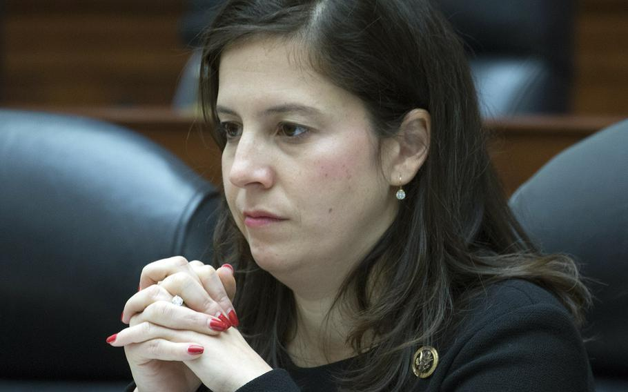 """Rep. Elise Stefanik, R.-N.Y., seen here at a House Armed Services Committee hearing on Feb. 14, 2018, says """"it is deeply troubling"""" to see continued dependency on Overseas Contingency Operations funding."""