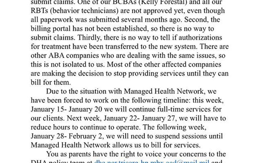 This Jan. 17, 2018 letter from the owners of A Perfect Fit AK therapy center near Anchorage, Alaska, notifies parents that due to glitches in the Tricare changeover on Jan. 1, they will have to begin slashing autism therapy services. The company was able to continue providing services after a military parent reached out to health care contacts she had on base.