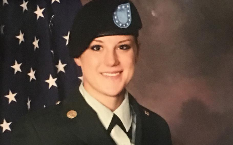 Sgt. Christina Marie Schoenecker, 26, shown here at basic training, died in a noncombat incident Monday, Feb. 19, 2018, in Iraq while supporting Operation Inherent Resolve