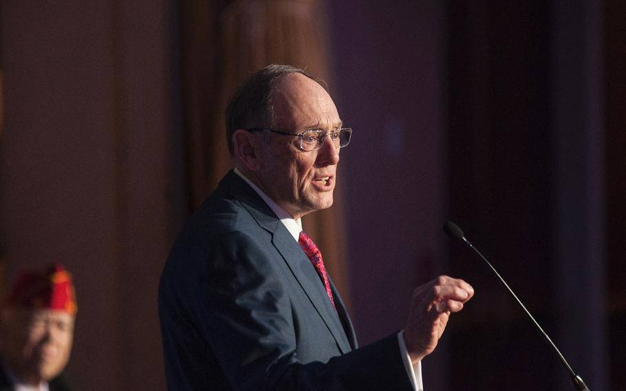 Chairman of the House Committe on Veterans Affairs U.S. Rep Phil Roe, R-Tenn., speaks Tuesday Feb. 27, 2018, at a morning session of the American Legion's annual Washington Conference.