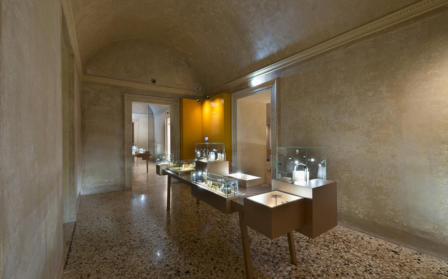 Necklaces are exhibited in Vicenza's Jewelry Museum with precious and semi-precious stones.