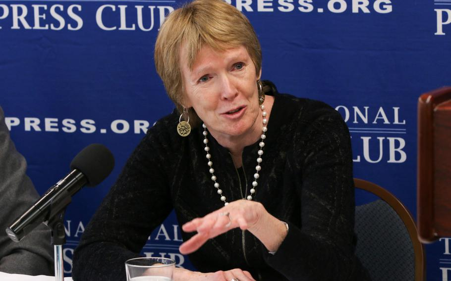 """Margaret MacMillan, professor of history at the University of Toronto and author of several historical books, including best-seller """"Peacemakers: The Paris Peace Conference of 1919 and Its Attempt to End War,"""" speaks during a World War I question and answer session held in Washington on Thursday, March 29, 2018."""
