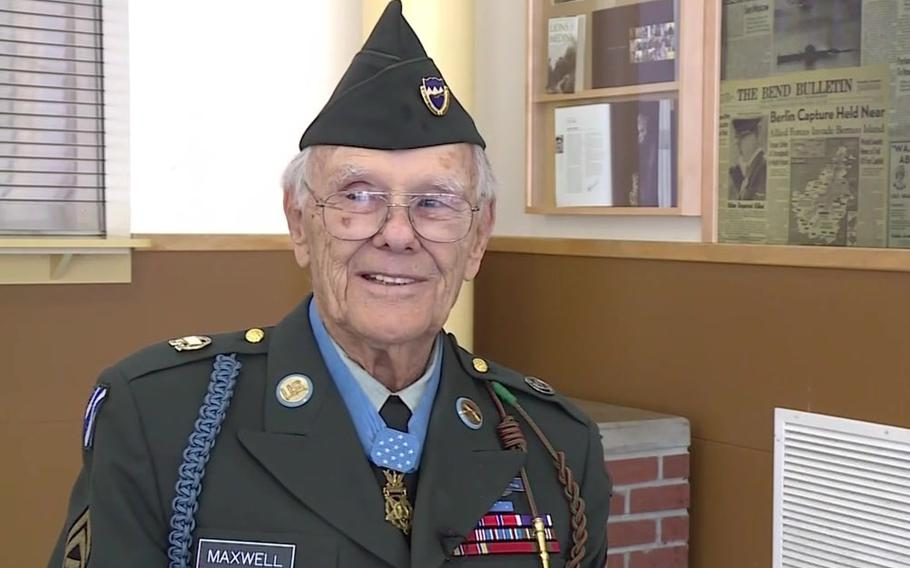 Robert Dale Maxwell, shown here in 2017, is the oldest living Medal of Honor recipient. On Sept. 7, 1944, near Besancon in eastern France, Maxwell was one of four soldiers, armed only with .45 caliber pistols, defending an observation post against enemy machine guns and grenades. When a grenade landed amidst the squad, Maxwell threw himself on it, shielding the others from the blast and permanently maiming himself.