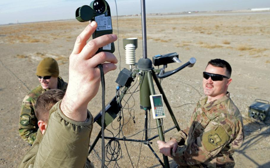 Tech. Sgt. Michael Theos, 451st Expeditionary Operation Support Squadron weather forecaster craftsman, collects weather data using a kestrel reader Jan. 11, 2018, at Kandahar Air Field, Afghanistan.