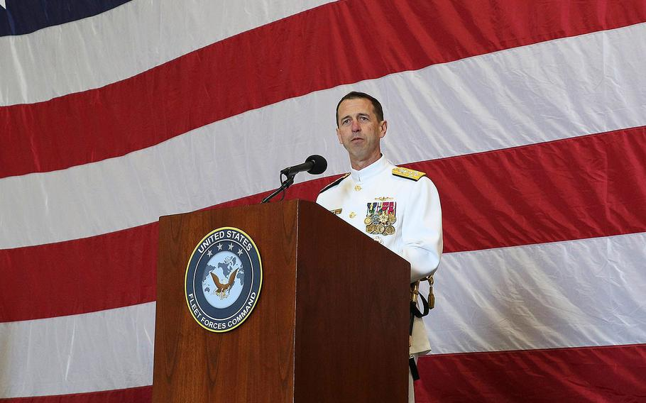 Chief of Naval Operations Adm. John Richardson speaks during the U.S. Fleet Forces (USFF) change of command ceremony aboard the aircraft carrier USS George H.W. Bush on May 4, 2018.