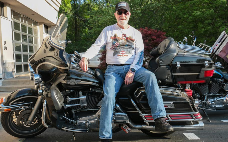 Don Withrow served in the Army from 1963 to 1983, with two tours to Vietnam in between. Withrow has ridden with the Ride of the Patriots every year since its inception in 1999. Here, Withrow poses with his motorcycle in Fairfax, Va., on May 9, 2018.